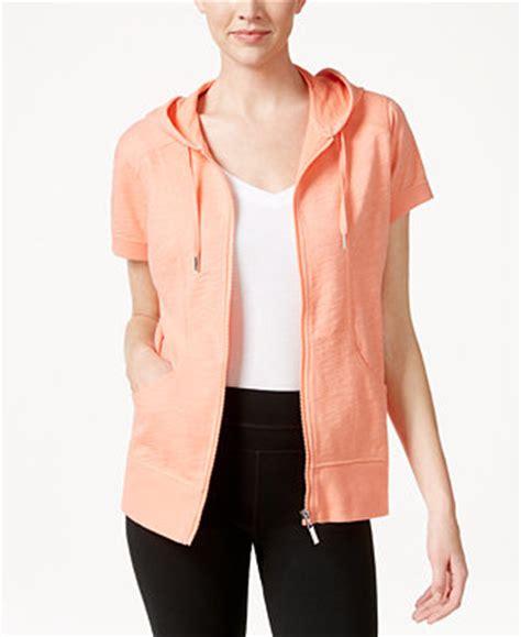 style  short sleeve zip front hoodie   macys