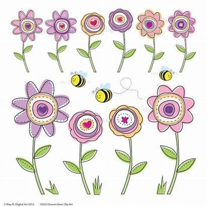 Clip Flowers Spring Clipart Flower Digital Modern