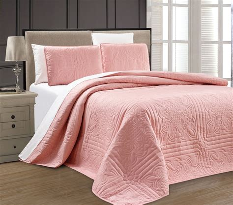 King Size Bed Coverlet by New Xl Cal King Size Bed Pink 3 Pc