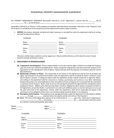 property management agreement template 8 sle property management agreements sle templates