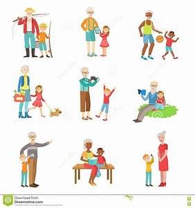 Grandparents And Kids Spending Time Together Set Of ...