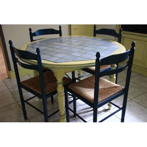 table carrel馥 cuisine table cuisine ronde bois et carrelage achat et vente priceminister rakuten