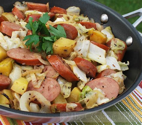skillet sausage and potatoes sausage potato and cabbage skillet the cooking mom