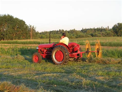 tractor with plow gold forest grains inc raking hay and hilling potatoes 2889