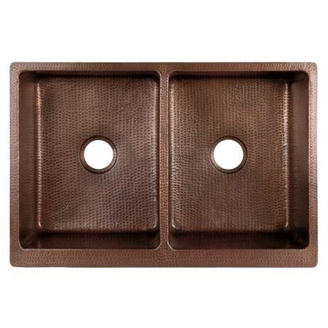 antique hammered copper kitchen apron  double basin sink handmade artisan copper