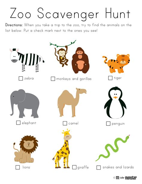 zoo scavenger hunt printable m is for