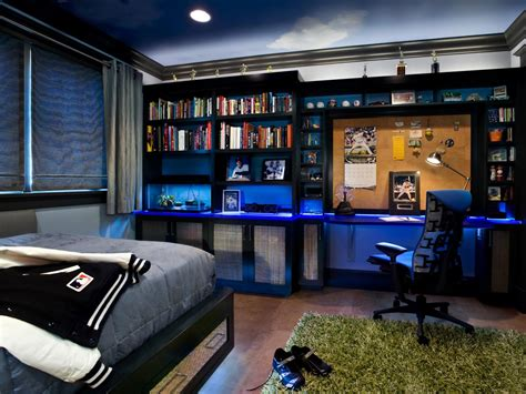 boys blue baseball themed bedroom  bookshelves hgtv