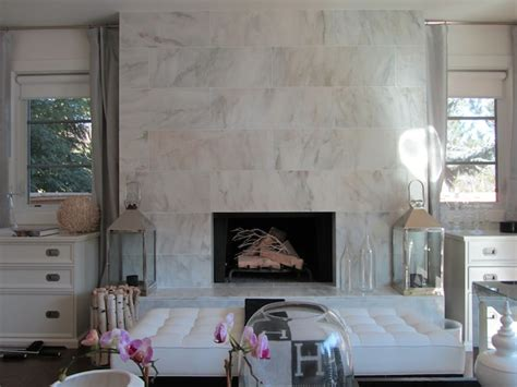 Sacks Tile Fireplace by Windows Flanking Fireplace Design Ideas