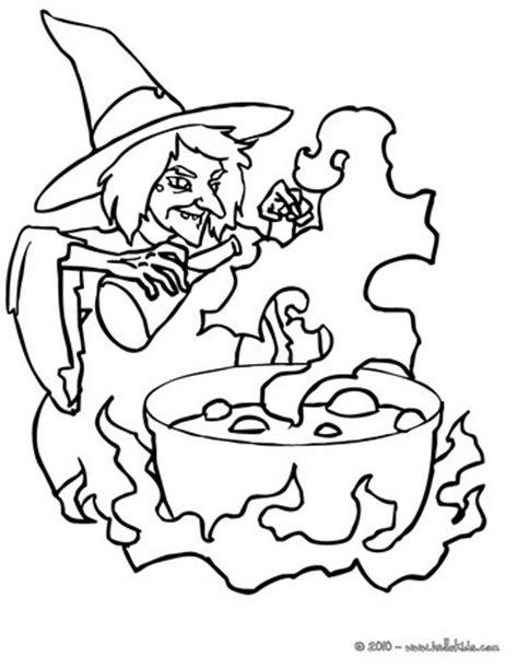 hexe bereitet einen teuflischen trank zu zum ausmalen zum