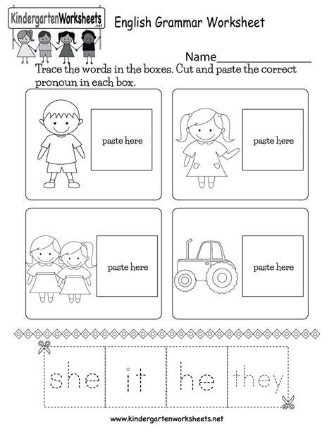 english grammar worksheet  kindergarten english