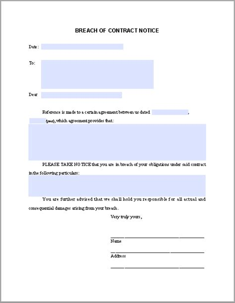 breach  contract template  printable word