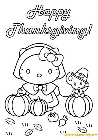 happy thanksgiving  kitty  teddy bear coloring