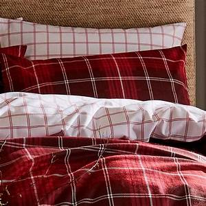 Catherine, Lansfield, Tartan, Check, Red, Duvet, Covers, Brushed