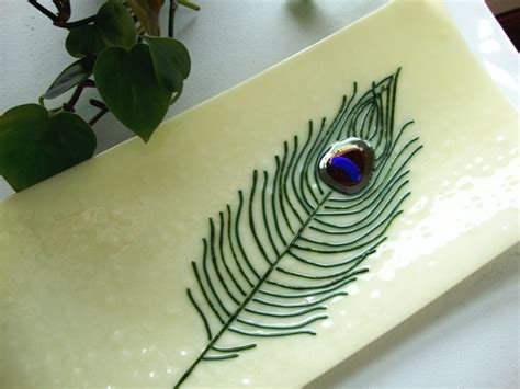 peacock feather oval art glass dish peacock feather fused glass plate wedding gift glass plate