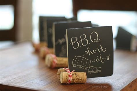mini chalkboard style food signs wedding signs