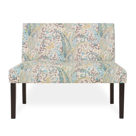 Paisley Settee by Handy Living Nate Multi Sky Blue Paisley Armless Settee