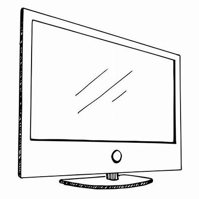 Sketch Monitor Television Flatscreen Isolated Illustrations Clip