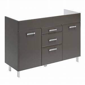 meuble sous vasque gris l120 x h84 x p452 cm 3 With meuble sous vasque 120