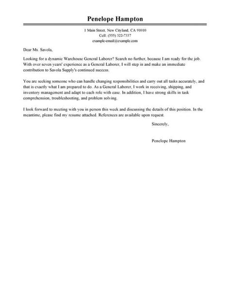 Sle Of A General Cover Letter by General Cover Letter Template Cover Letter For Resume