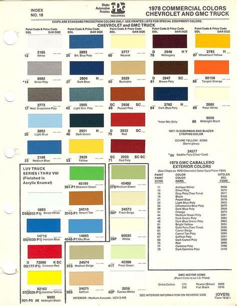 truck paint colors 1978 chevrolet truck chevrolet truck gmc truck paint chips ppg ebay
