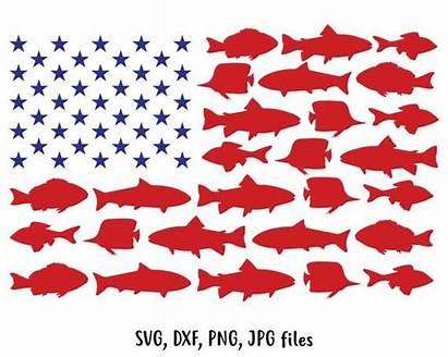 Svg Fishing Flag Usa July 4th Bass