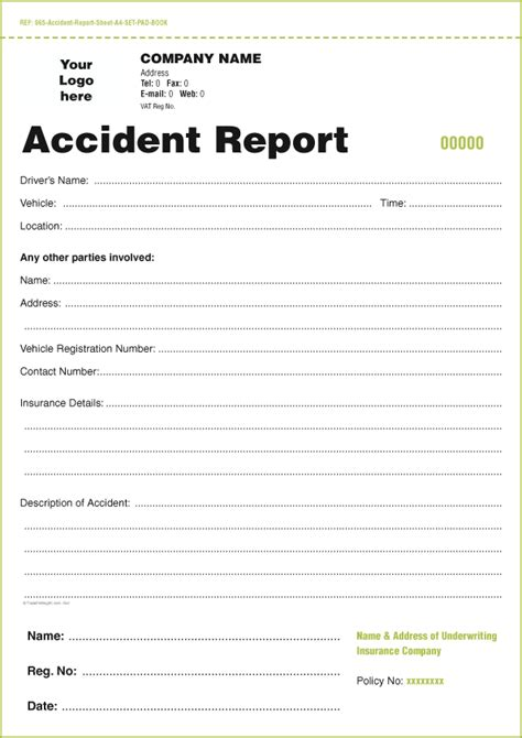 vehicle accident report form template business form