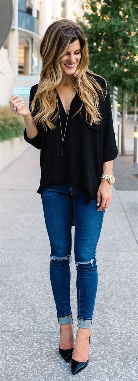 Best 25+ Black blouse outfit ideas on Pinterest | Womenu0026#39;s black and white jeans Outfit with ...