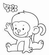 Monkey Coloring Pages Cute Colouring Printable Baby Toddler Cartoon Momjunction Colored Animal Clipart Simple Monkeys Sheets Animals Bright Clip Books sketch template