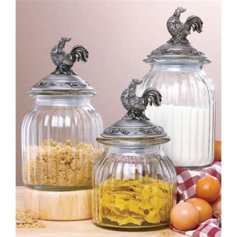 clear glass kitchen canister sets set 3 country rooster clear glass canister set