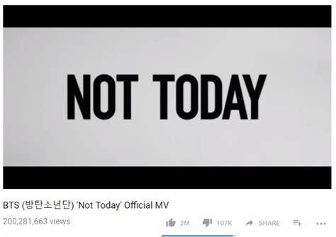 BTS 'Not Today' MV Hits 200 Million Views!