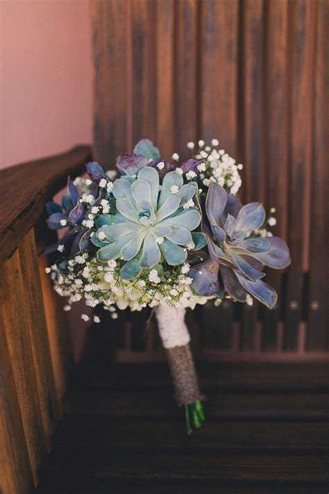 Succulent And Babys Breath Bridal Bouquet Wrapped With