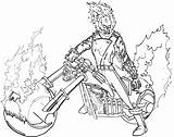 Rider Ghost Coloring Pages Ghostrider Cartoon sketch template