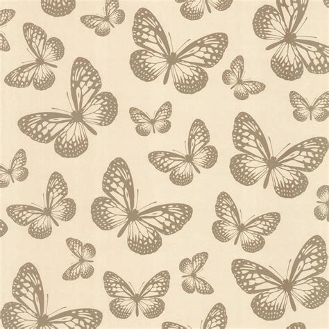 butterfly shimmer wallpaper metallic gold cream