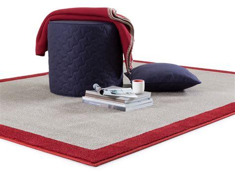 tappeto tinta unita tappeto rettangolare con bordo rosso basel outlet