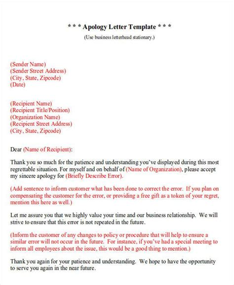 formal apology letters