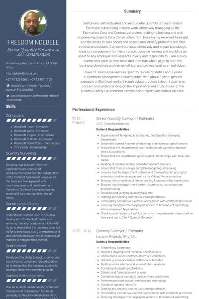 quantity surveyor resume samples visualcv resume samples