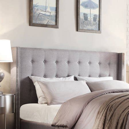 gray upholstered headboard weston home curtis i tufted grey linen headboard