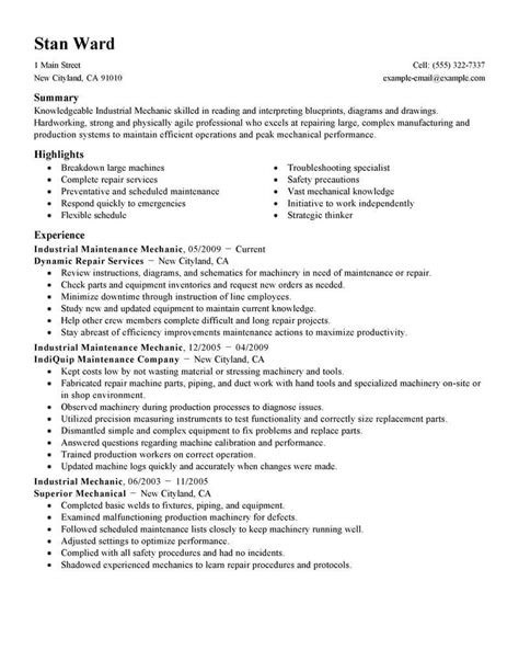 Maintenance Mechanic Resume Sles by Best Industrial Maintenance Mechanic Resume Exle From