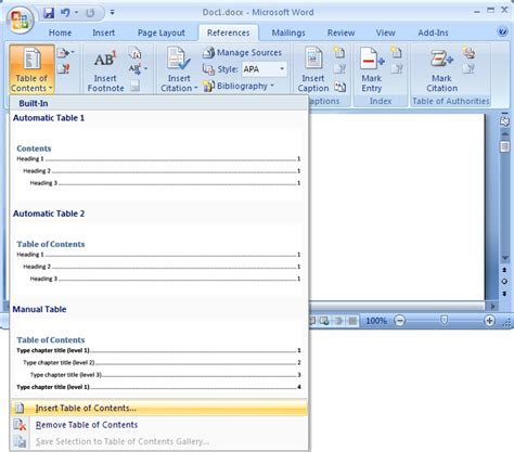microsoft word table of contents ms word 2007 create a table of contents
