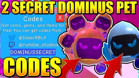 Use these roblox promo codes to get free cosmetic rewards in roblox. 2 SECRET DOMINUS PET CODES IN BUBBLE GUM SIMULATOR! Roblox - TH-Clip
