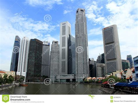 modern buildings  singapore river side editorial photo