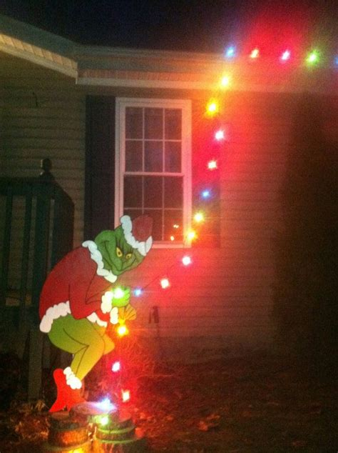 grinch stealing christmas lights yard art easy outdoor