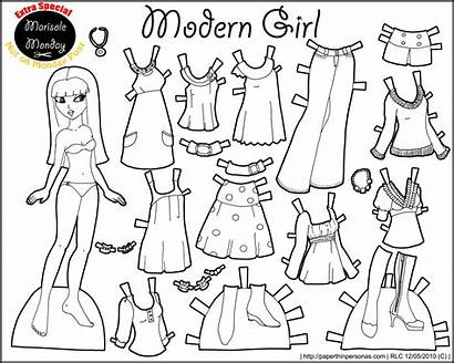 Paper Doll Printable Dolls Template Monday Marisole