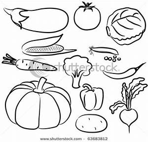 Fruits And Vegetables Clip Art Black And White Drawings Of ...