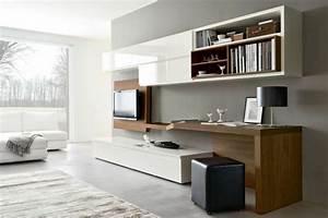 Schreibtisch Im Wohnzimmer Integrieren : am nagement de bureau moderne dans un salon design ~ Bigdaddyawards.com Haus und Dekorationen