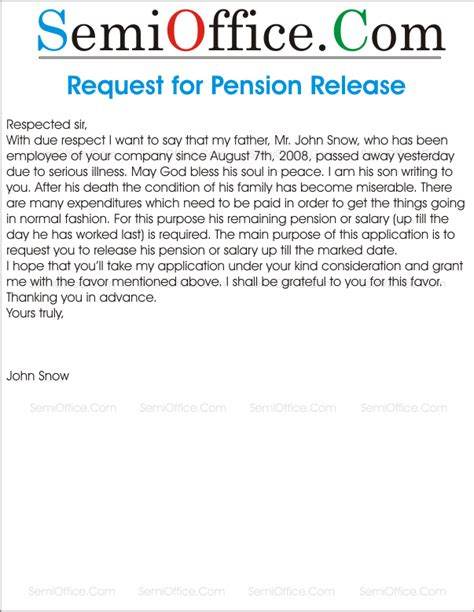 application  release  pension