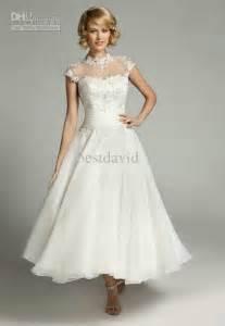 cheap tea length wedding dresses sheer high neck lace wedding dresses 2014 tea length applique illusion back cap sleeves a line