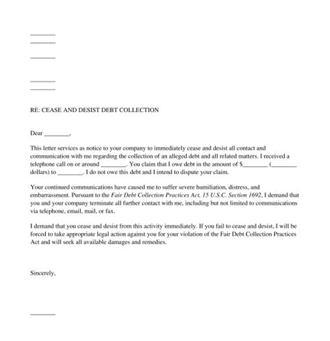 debt collection letter debt collection cease and desist letter free template