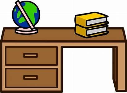 Desk Clipart Table Student Club Teacher Penguin