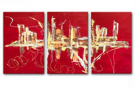 chambre a coucher style triptyque abstrait panoramique design tableaux